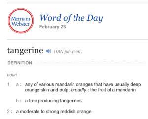 Merriam-Webster Tangerine Definition